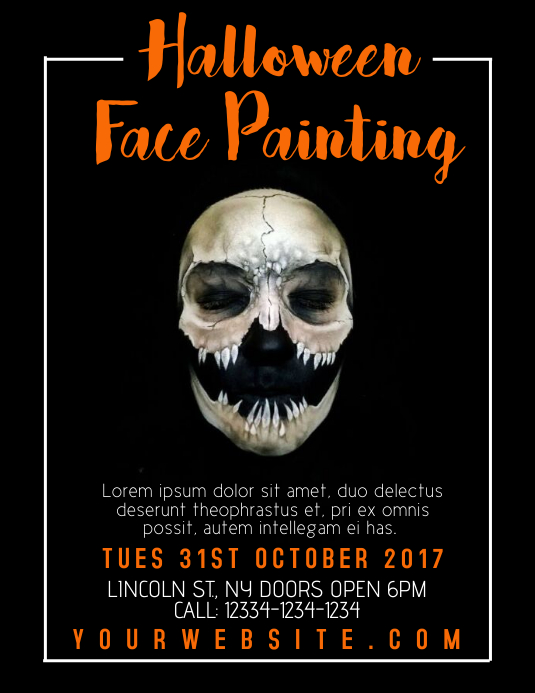 halloween face painting template postermywall