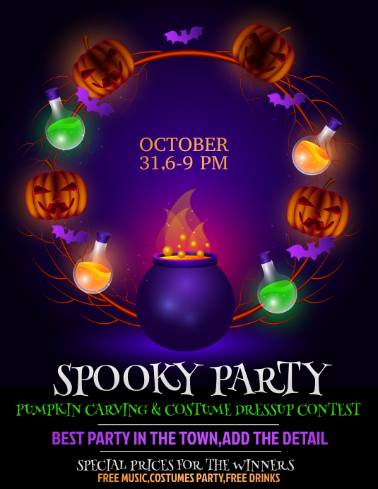 Halloween flyer ,event flyer,party flyers ใบปลิว (US Letter) template