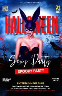 Halloween flyer template Half Page Wide