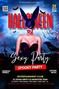 Halloween flyer template แบนเนอร์ 4' × 6'