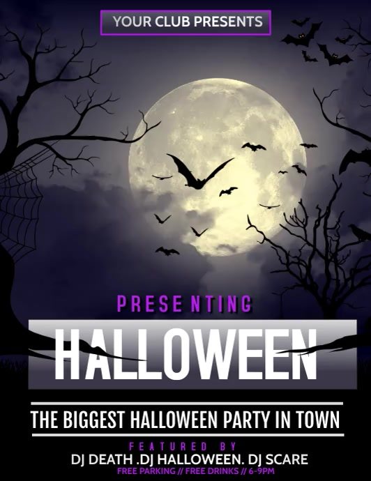 Halloween flyer video,Event flyer ใบปลิว (US Letter) template