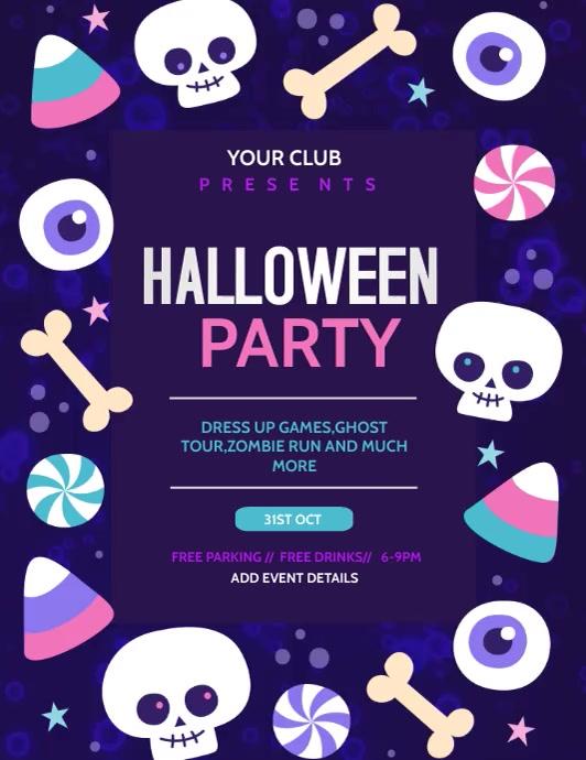 Halloween flyer video,Event flyer Løbeseddel (US Letter) template