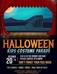 Halloween flyer videos, Trick or treat Volante (Carta US) template