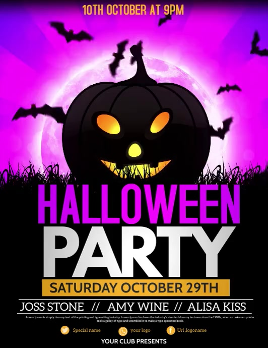 Halloween flyers, event flyers,party flyers Folder (US Letter) template
