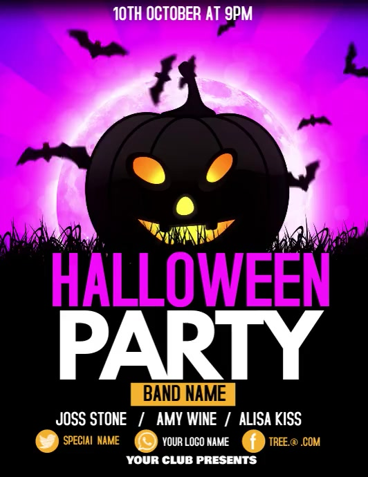 Halloween flyers, event flyers,party flyers ใบปลิว (US Letter) template