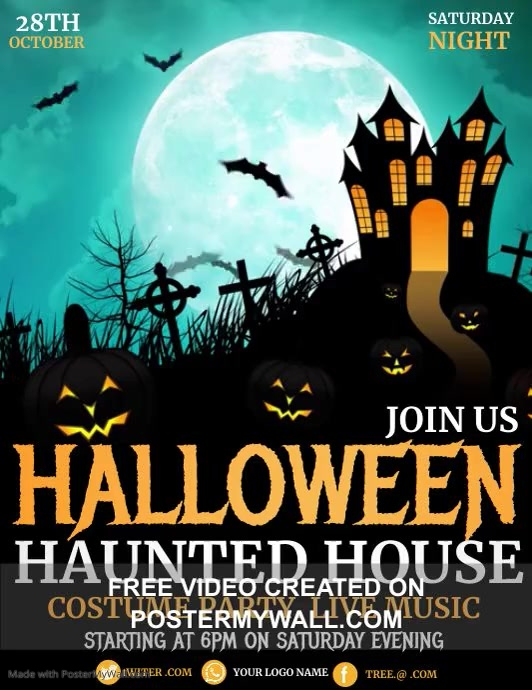 Halloween flyers, event flyers ใบปลิว (US Letter) template