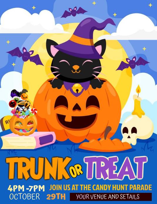 Halloween flyers, Trick or treat flyers, Volante (Carta US) template