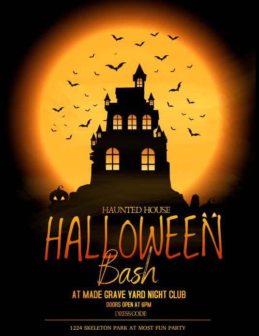Halloween flyers,event flyers,party flyers ใบปลิว (US Letter) template
