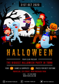 Halloween Flyers Template, Halloween Party, H A4