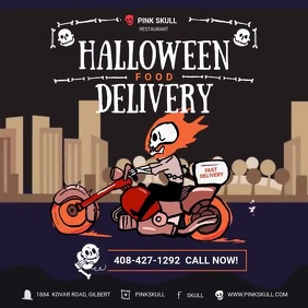 Halloween Food Delivery Quadrado (1:1) template