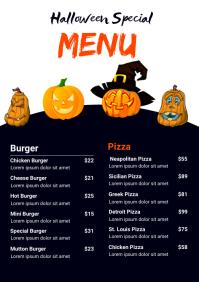 Halloween Food Menu List Template A4