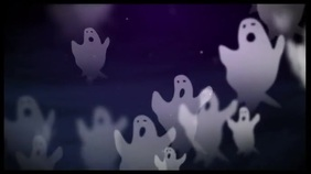 Halloween ghost zoom digital backgrOund Цифровой дисплей (16 : 9) template