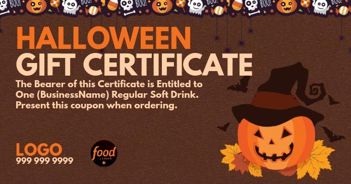 Halloween Gift Certificate Template Facebook 共享图片