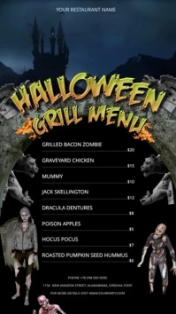 Halloween Grill Menu Digital Display Portrait Video