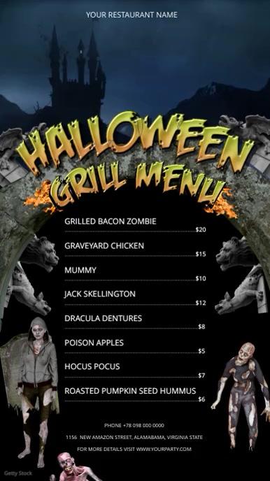 Halloween Grill Menu Digital Display Portrait Video