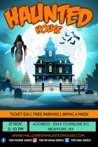 Halloween haunted house, haunted house Poster template