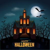 Halloween haunted house background Instagram-opslag template