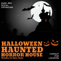 Halloween haunted house Instagram Post template