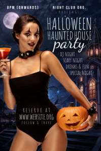 Halloween Haunted House Party Template Poster
