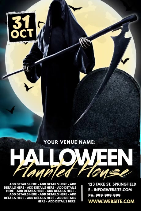 Halloween Haunted House Poster Cartaz template