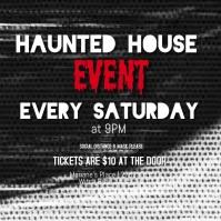 Halloween Haunted House Video Instagram Post template