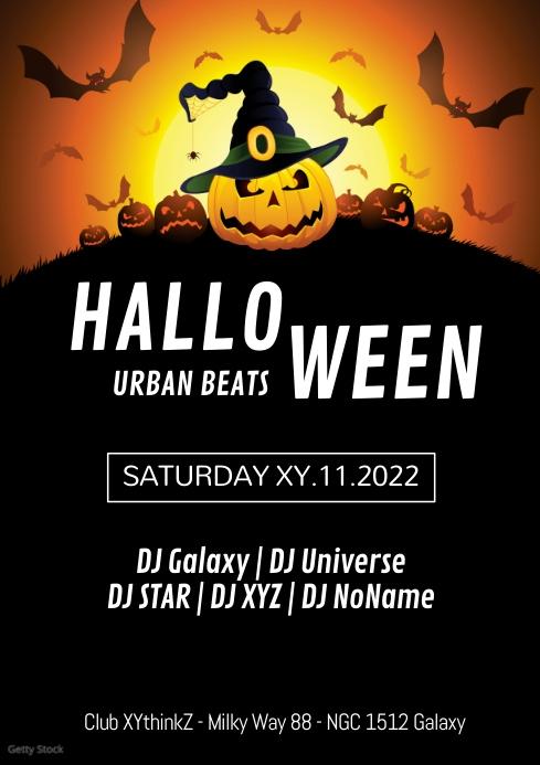 Halloween Hip Hop Party Urban Event Flyer Ad