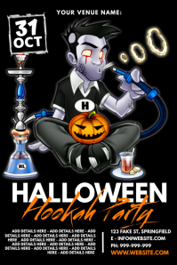 Halloween Hookah Party Poster Плакат template