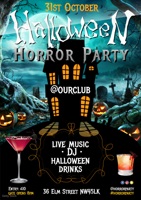 Halloween Horror Party Poster A4 template