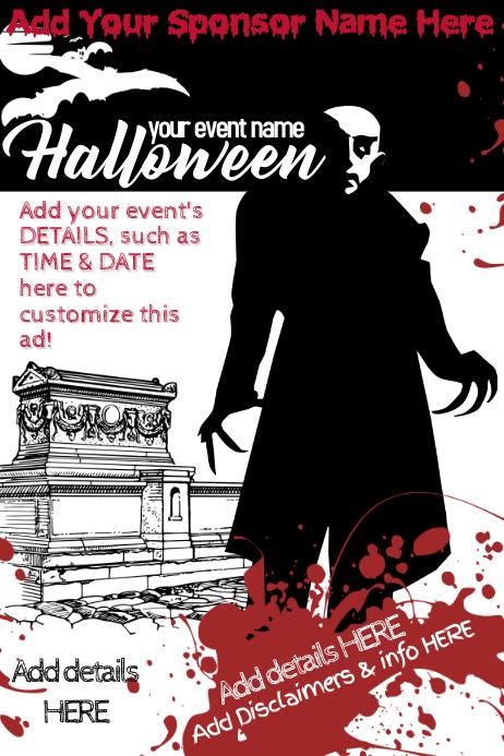 Halloween Horror Vampire Dracula Bats Bloody Coffin Tomb