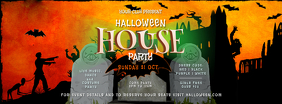 Halloween House Party Facebook Cover Photo template