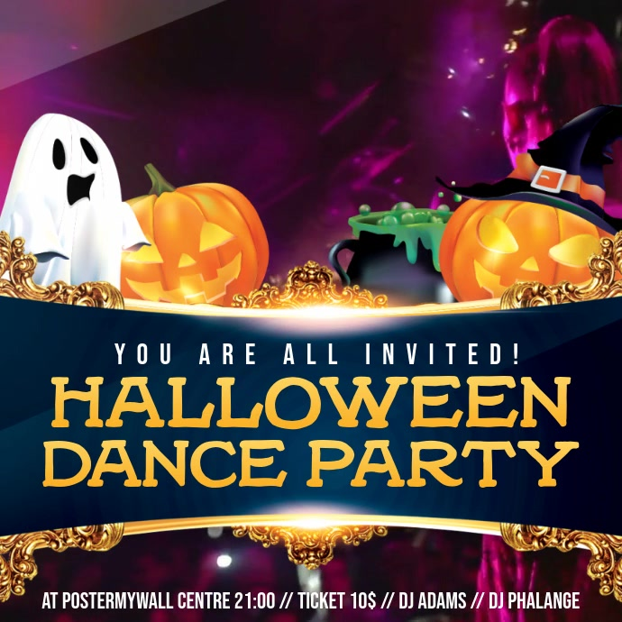 Halloween House Party Video Invitation Template Postermywall