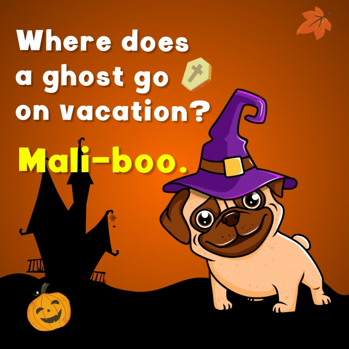 Halloween Instagram post with jokes images Persegi (1:1) template