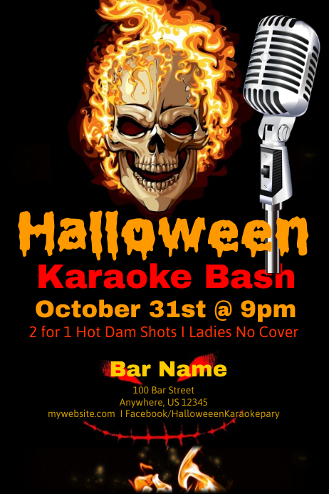 Halloween Karaoke Bash 海报 template