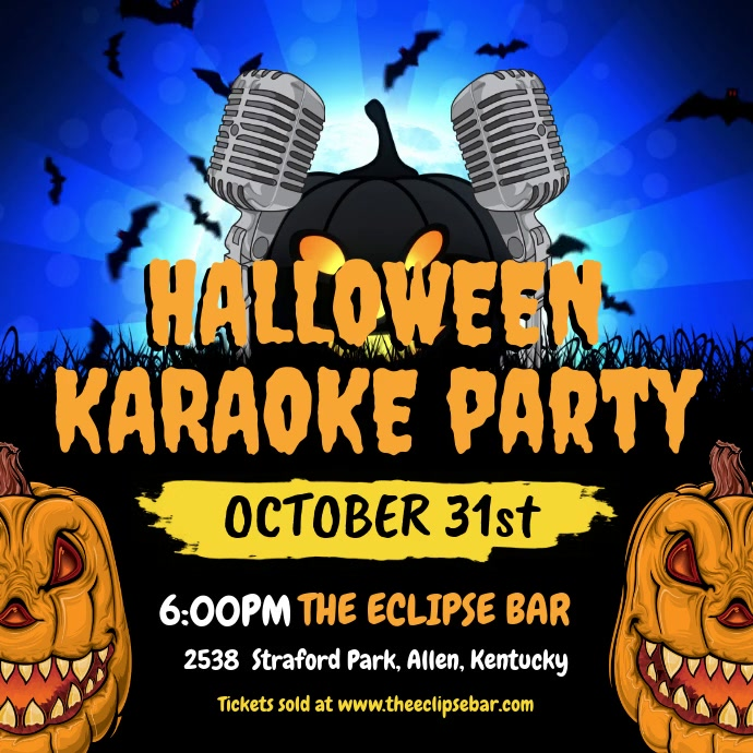 Halloween Karaoke Party Invite 方形(1:1) template