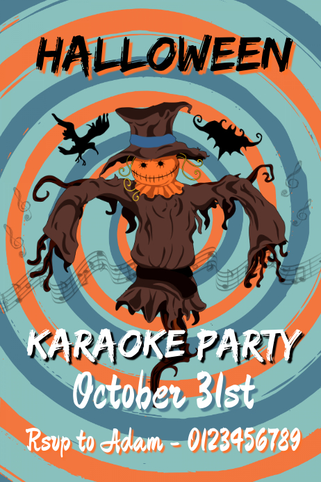 Halloween Karaoke Party Poster 海报 template