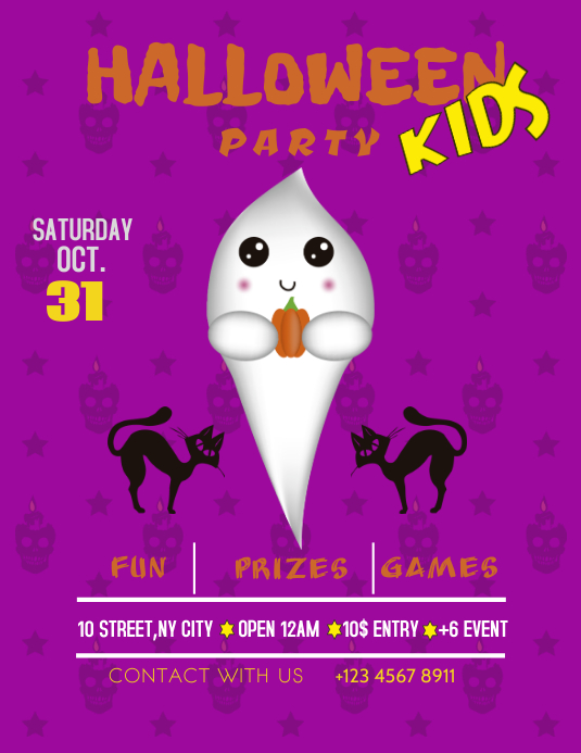 Halloween kids ghost party flyer template Folder (US Letter)