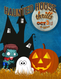 Halloween Kids Haunted House party flyer