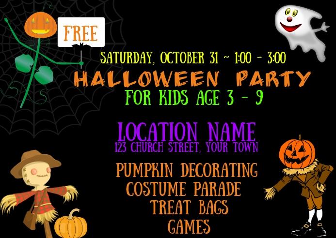 HALLOWEEN KIDS PARTY INVITATION POSTCARD