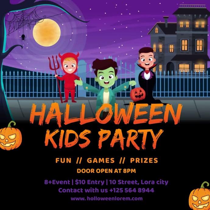 Halloween Kids Party Social Media Template โพสต์บน Instagram