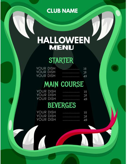 Halloween menu,Halloween party,Spooky flyers template