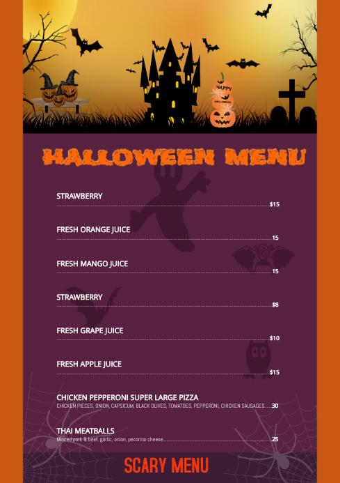 Halloween Menu A4 template