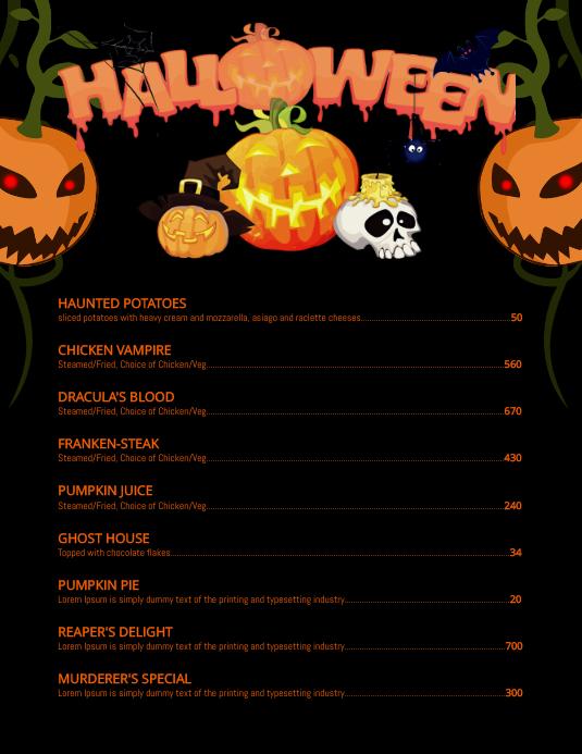 Halloween menu Volante (Carta US) template