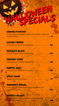 Halloween Menu Digital Display (9:16) template