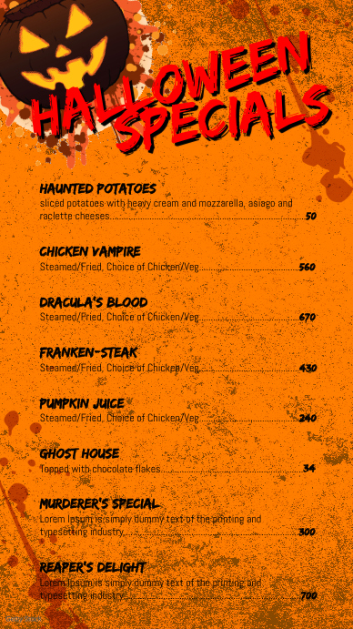 Halloween Menu Digital na Display (9:16) template