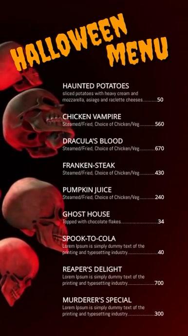 Halloween Menu Ekran reklamowy (9:16) template