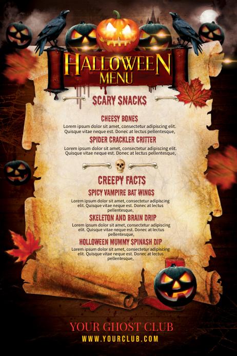 Halloween Menu Plakat template