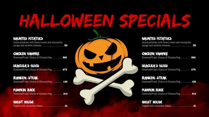 Halloween menu Tampilan Digital (16:9) template