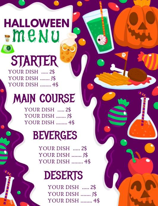 Halloween menu flyers, Spooky menu template