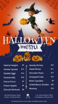Halloween Menu Portrait Digital Display Video