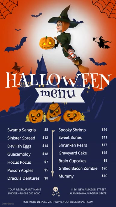 Halloween Menu Portrait Digital Display Video